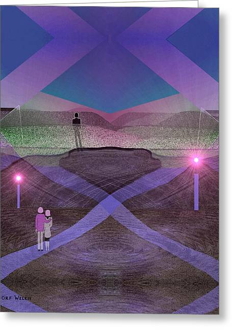 Candle Lit Digital Art Greeting Cards - 730 - People In Landscape Greeting Card by Irmgard Schoendorf Welch