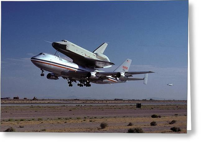Enterprise Photographs Greeting Cards - 747 Takes Off with Space Shuttle Enterprise for ALT-1 Greeting Card by Brian Lockett