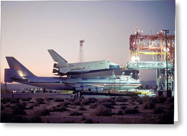 Enterprise Photographs Greeting Cards - 747 with Space Shuttle Enterprise Before ALT-4 Greeting Card by Brian Lockett