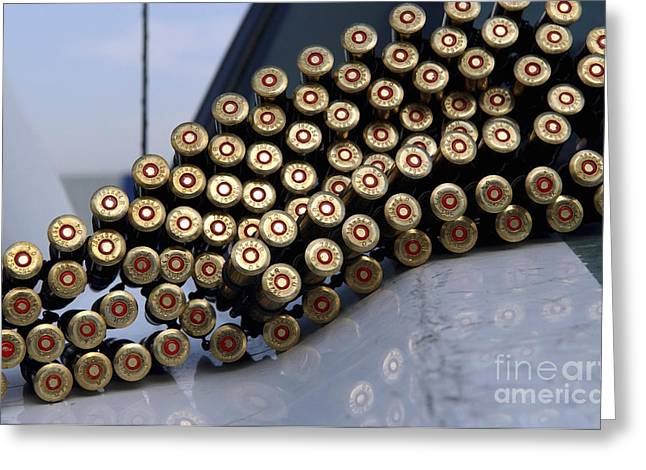 Round Shell Greeting Cards - 7.62 Mm Rounds Ready To Be Loaded Greeting Card by Stocktrek Images