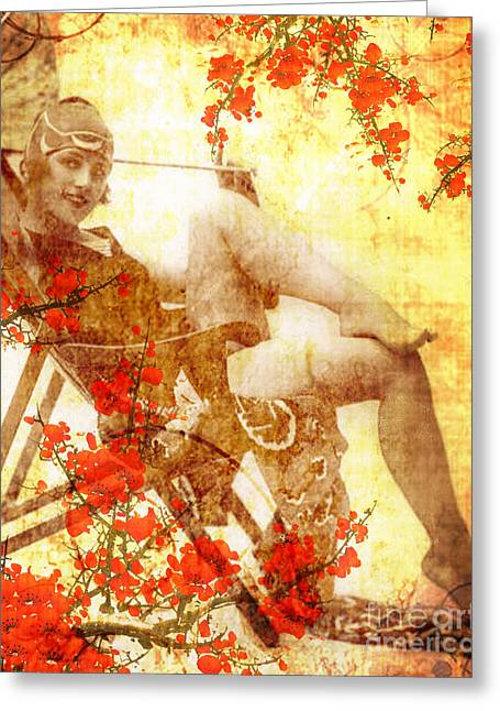 Cherry Blossoms Mixed Media Greeting Cards - Winsome Woman Greeting Card by Chris Andruskiewicz