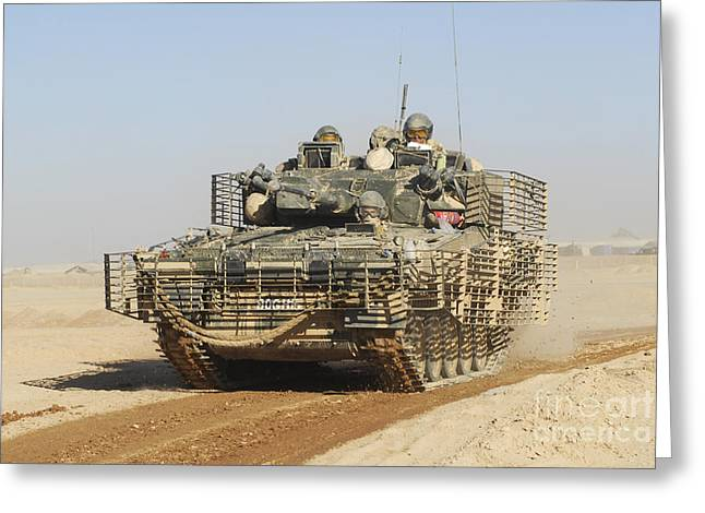 Three Speed Greeting Cards - A Fv107 Scimitar Armoured Greeting Card by Andrew Chittock