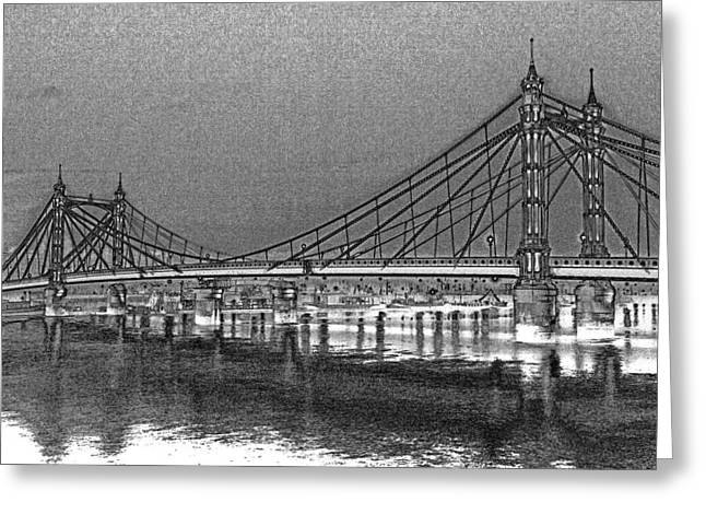 Chelsea Digital Art Greeting Cards - Albert Bridge London Greeting Card by David Pyatt