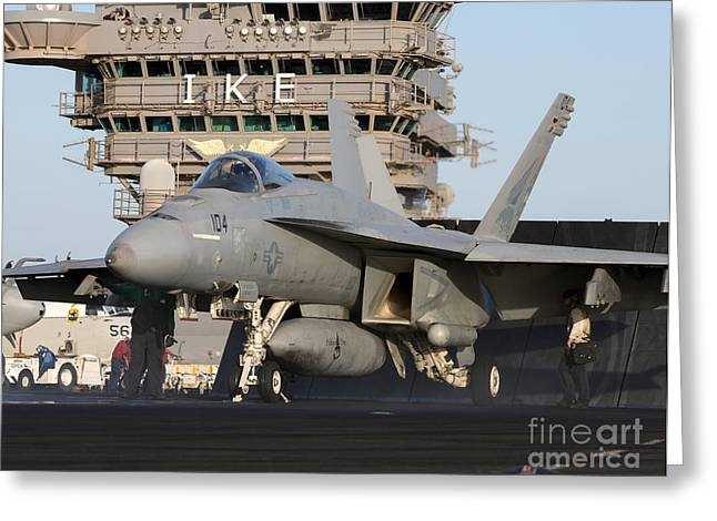 F-18 Greeting Cards - An Fa-18e Super Hornet During Flight Greeting Card by Gert Kromhout