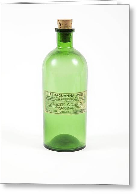 Glass Bottle Greeting Cards - Antique Medicine Bottle Greeting Card by Gregory Davies, Medinet Photographics
