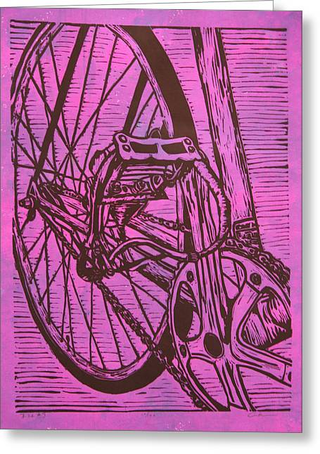 Blockprint Drawings Greeting Cards - Bike 3 Greeting Card by William Cauthern