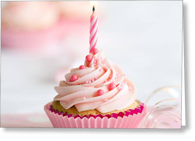 Streamer Greeting Cards - Birthday cupcake Greeting Card by Ruth Black
