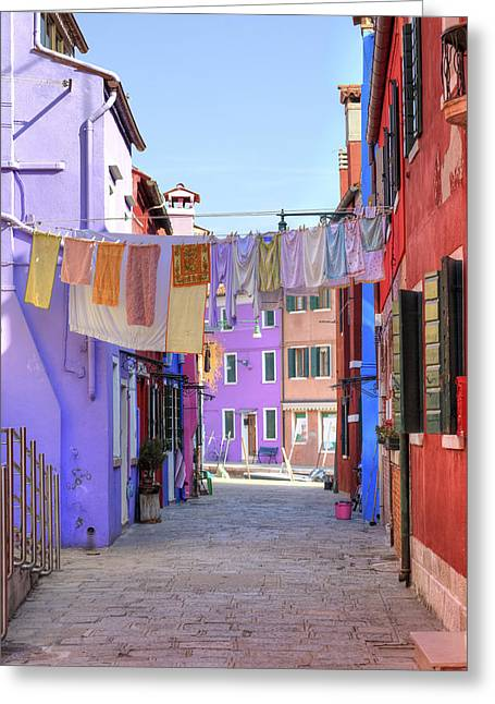 Laundering Greeting Cards - Burano Greeting Card by Joana Kruse