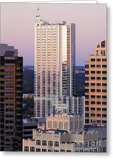 Austin Building Greeting Cards - City Skyline Greeting Card by Jeremy Woodhouse