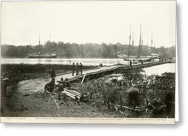 Sailboat Photos Greeting Cards - Civil War: Pontoon Bridge Greeting Card by Granger