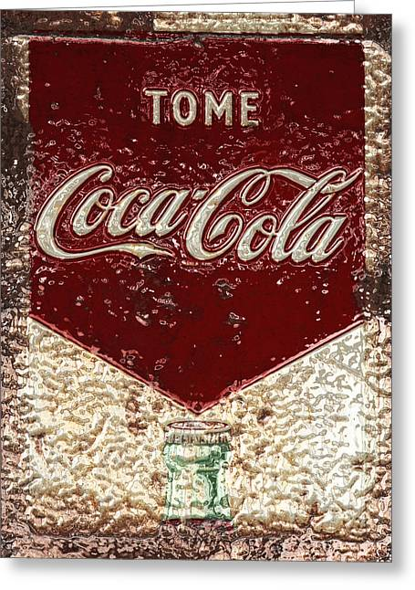 Closeup Coke Sign Greeting Cards - Coca Cola Classic Vintage Rusty Sign Greeting Card by John Stephens