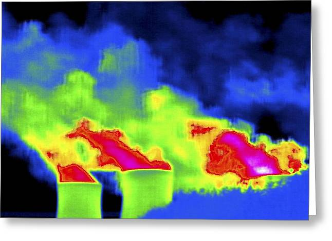 False Power Greeting Cards - Cooling Towers, Thermogram Greeting Card by Tony Mcconnell