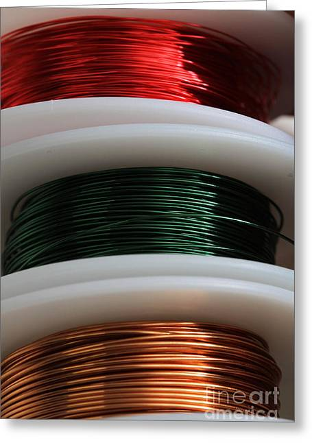 Electrical Wiring Greeting Cards - Enamel Coated Copper Wire Greeting Card by Photo Researchers, Inc.