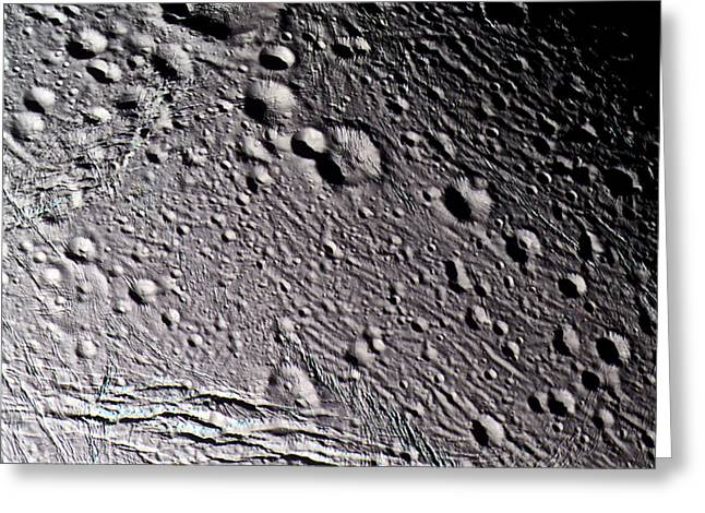 Gash Greeting Cards - Enceladus Surface Greeting Card by NASA / Science Source