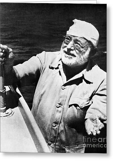 Old Man And The Sea Greeting Cards - Ernest Hemingway Greeting Card by Granger