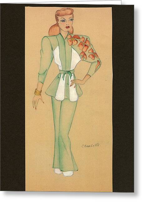 Black Top Drawings Greeting Cards - Fashions of the 1940s Greeting Card by Yvette Pichette