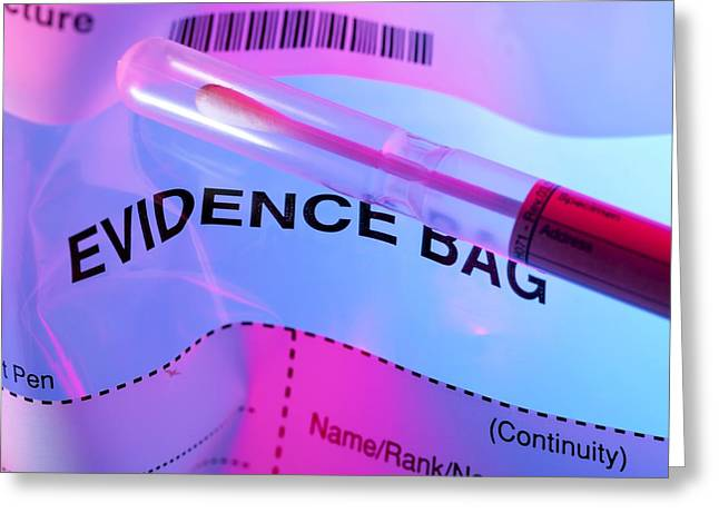 Evidence Greeting Cards - Forensic Evidence Greeting Card by Tek Image