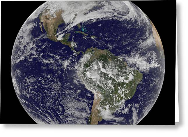 Physical Body Greeting Cards - Full Earth Showing North America Greeting Card by Stocktrek Images