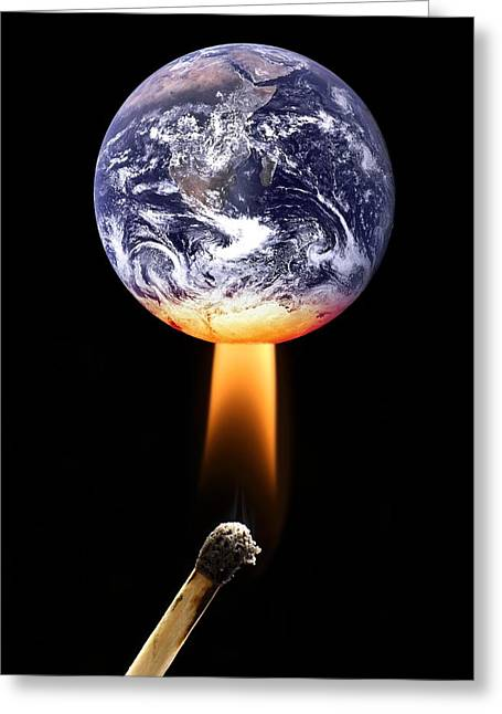Global Heating Greeting Cards - Global Warming, Conceptual Image Greeting Card by Victor De Schwanberg