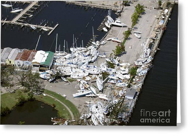 Hurricane Katrina Greeting Cards - Hurricane Katrina Damage Greeting Card by Science Source
