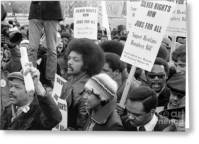 Political Rally Greeting Cards - Jesse Jackson (1941- ) Greeting Card by Granger