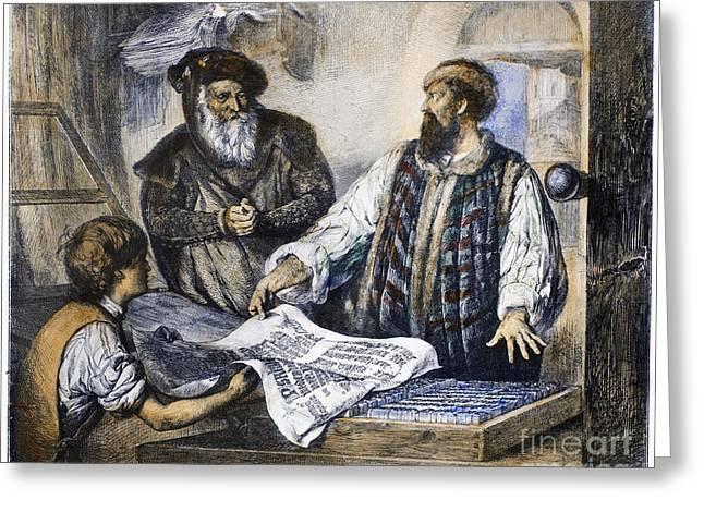Menzel Greeting Cards - Johann Gutenberg Greeting Card by Granger