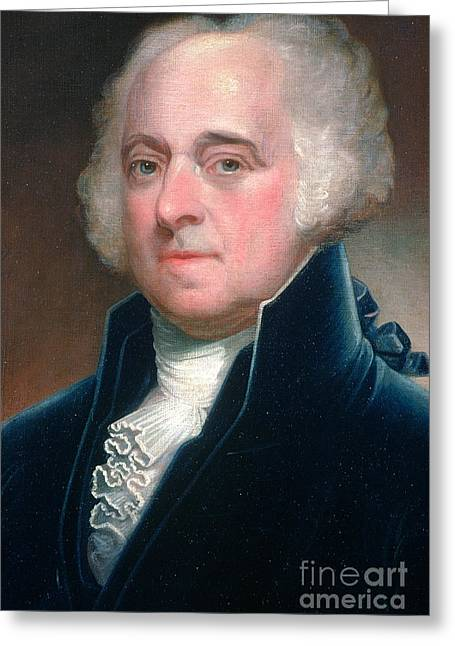 Vice President Photographs Greeting Cards - John Adams, 2nd American President Greeting Card by Photo Researchers
