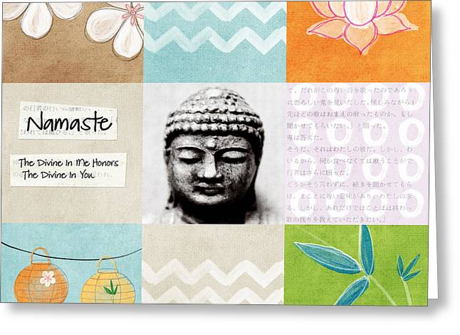 Welcome Signs Greeting Cards - Namaste Greeting Card by Linda Woods