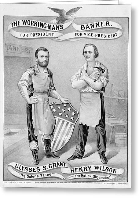 Overalls Greeting Cards - Presidential Campaign, 1872 Greeting Card by Granger
