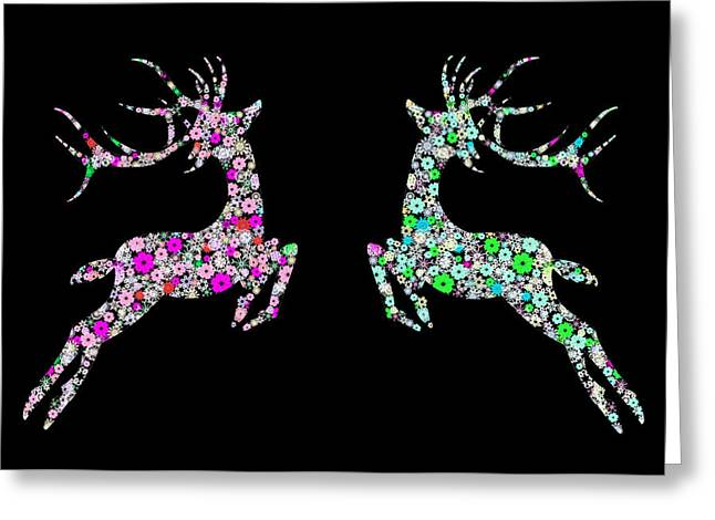 Paper Texture Greeting Cards - Reindeer design by snowflakes Greeting Card by Setsiri Silapasuwanchai