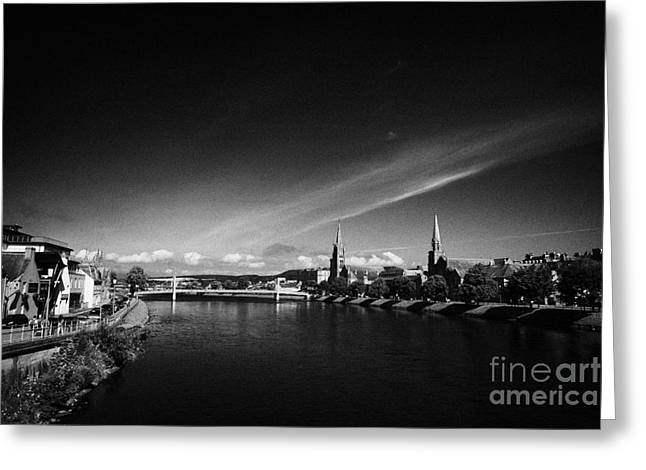 River Ness Flowing Through Inverness City Highland Scotland Uk Greeting Card by Joe Fox