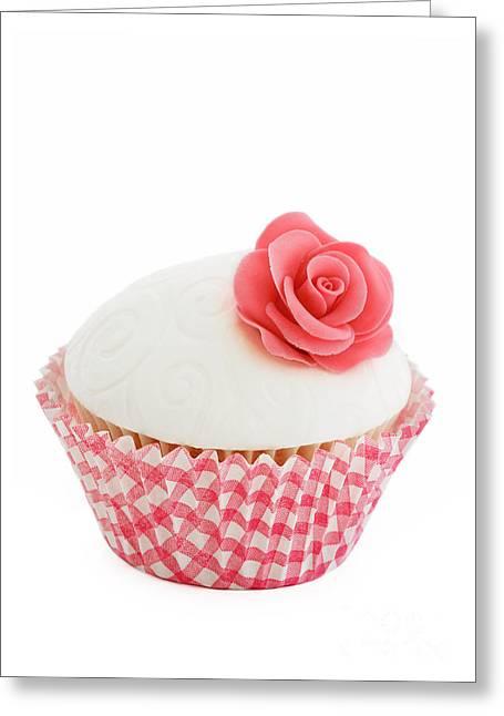 Fondant Greeting Cards - Rose cupcake Greeting Card by Ruth Black