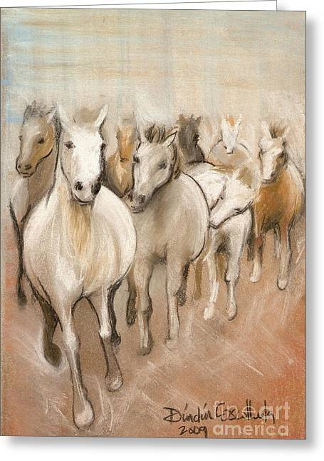 White Horse Pastels Greeting Cards - 8 Running Horses Greeting Card by Dindin Coscolluela