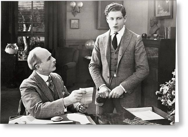 Ecwork Greeting Cards - Silent Film Still: Offices Greeting Card by Granger
