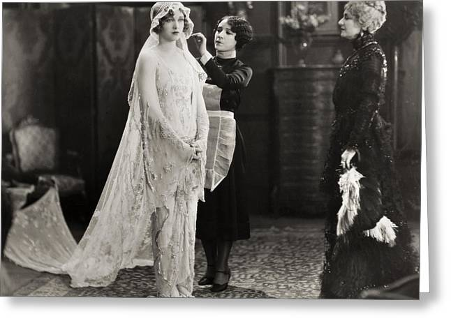 Dressing Room Greeting Cards - Silent Film Still: Wedding Greeting Card by Granger