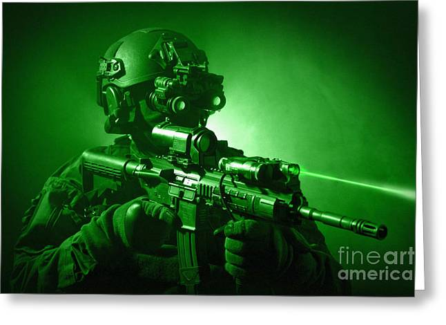Sharpshooter Greeting Cards - Special Operations Forces Soldier Greeting Card by Tom Weber