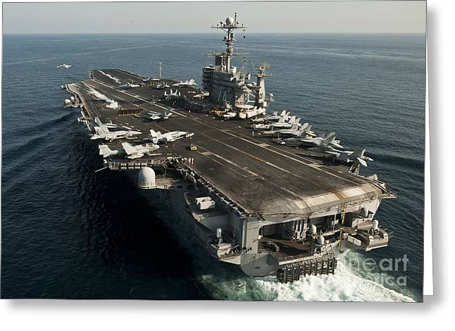 Flight Operations Photographs Greeting Cards - The Nimitz-class Aircraft Carrier Uss Greeting Card by Stocktrek Images