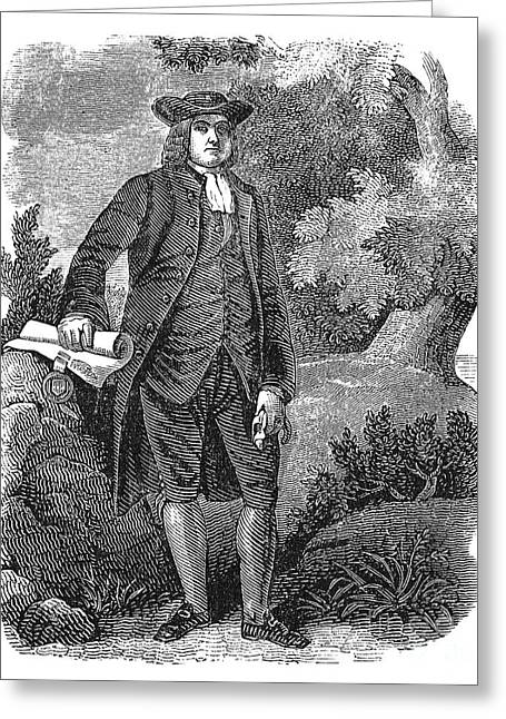 Quaker Greeting Cards - William Penn (1644-1718) Greeting Card by Granger