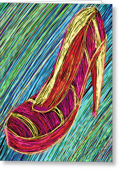 Recently Sold -  - Kenal Louis Greeting Cards - 80s High Heels Greeting Card by Kenal Louis