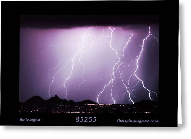 Arizona Lightning Greeting Cards - 85255 Fine Art Arizona Lightning Photo Poster Greeting Card by James BO  Insogna