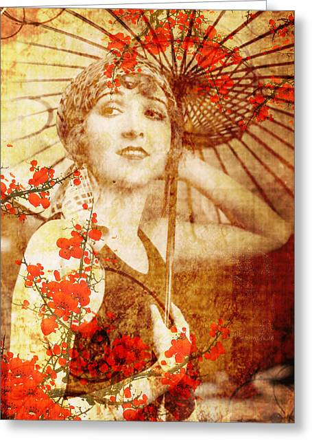 Umbrellas Mixed Media Greeting Cards - Winsome Woman Greeting Card by Chris Andruskiewicz