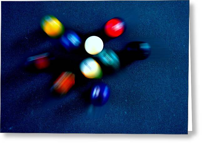 9 Ball Break Greeting Card by Nick Kloepping