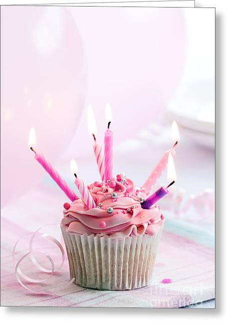 Candle Lit Greeting Cards - Birthday cupcake Greeting Card by Ruth Black