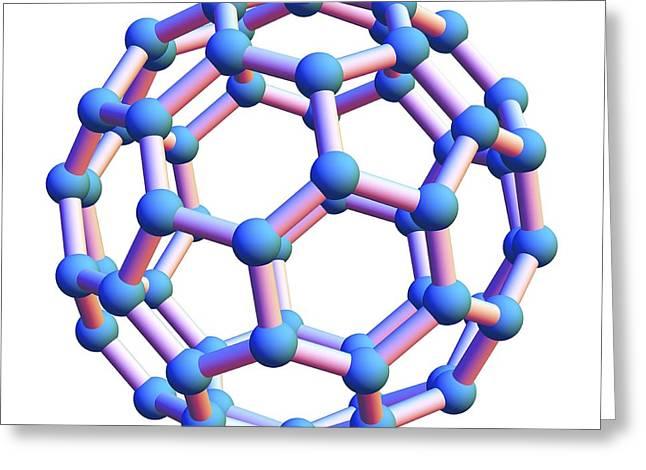 Bonding Greeting Cards - Buckminsterfullerene Molecule Greeting Card by Pasieka