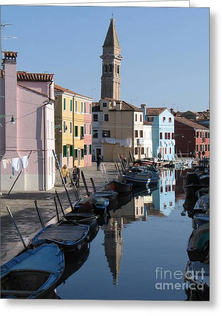City Canal Greeting Cards - Burano.VENICE Greeting Card by Bernard Jaubert