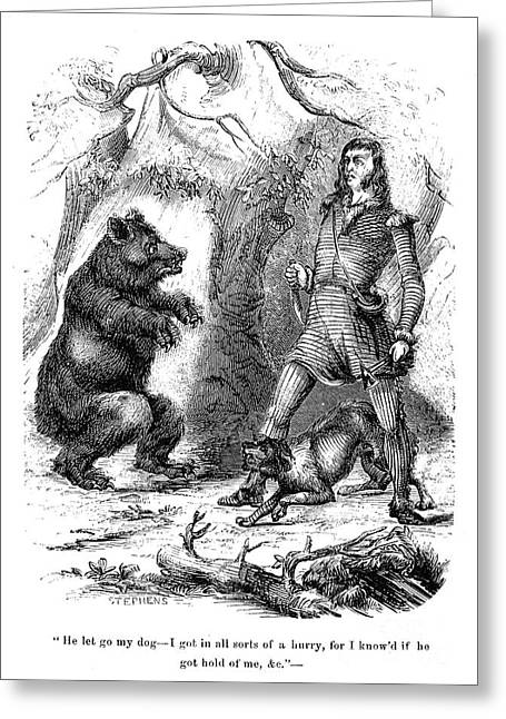 Sideburns Greeting Cards - Davy Crockett (1786-1836) Greeting Card by Granger