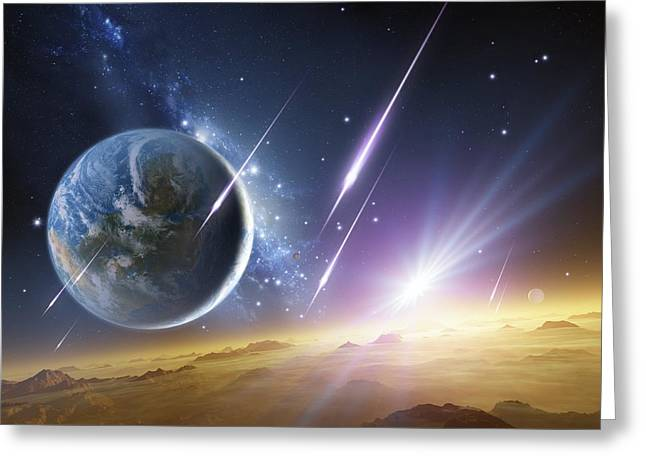 Super Stars Greeting Cards - Earth-like Planet, Artwork Greeting Card by Detlev Van Ravenswaay