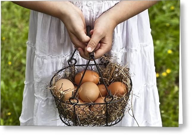 Farm Girl Greeting Cards - Eggs Greeting Card by Joana Kruse