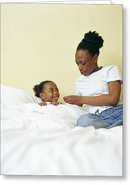 Child Care Greeting Cards - Feverish Child Greeting Card by Ian Boddy