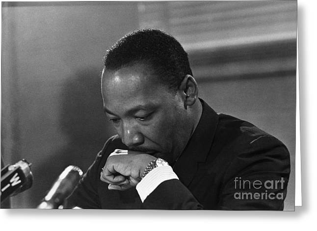 Press Conference Greeting Cards - Martin Luther King, Jr Greeting Card by Granger